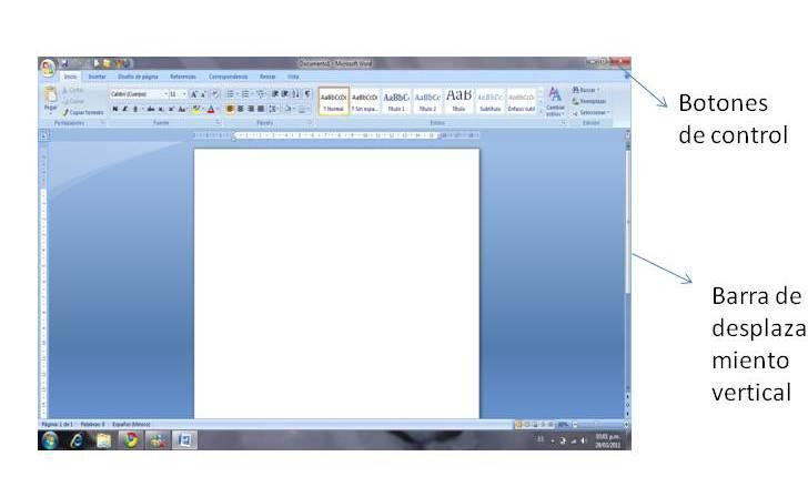 el ambiente de trabajo de microsoft office word